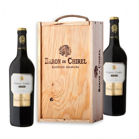 Wooden Box of 2 Bottles of...